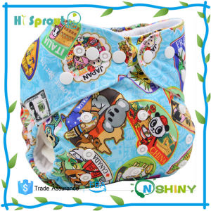 Washable Reusable Pul Waterproof Aio Printed Cloth Diaper