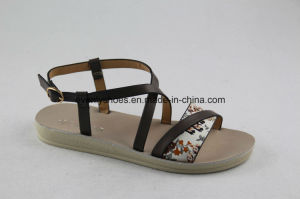Fashion Flat Lady Sandal with Cross Strap PU Upper pictures & photos
