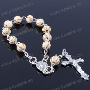 Fashion 8mm Multicolour Wooden Beads Saint Catholic Rosary