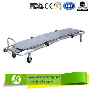 Powder Coated Steel Foldable Medical Stretcher with Body Bag pictures & photos