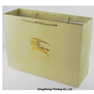 High End of Paper Gift Shopping Bag with Gold Foil Hot Stamp Logo for Garment