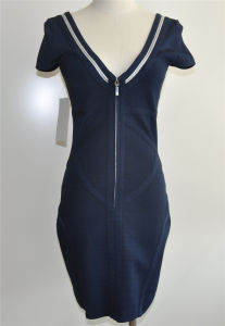 Viscose Spandex Deep V-Neck Zip Sweater Dress pictures & photos