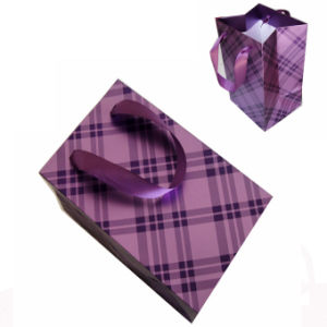Art Paper Gift Shopping Bag for Clothes with Ribbon