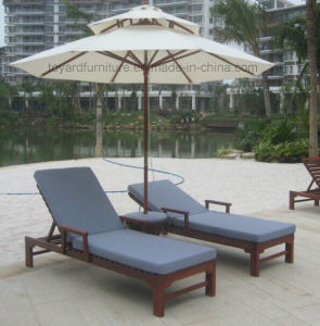 Patio Wood Beach Chair with UV Protected Blue Bottom Cushion for Hotel Backyard Lawn Lounging pictures & photos