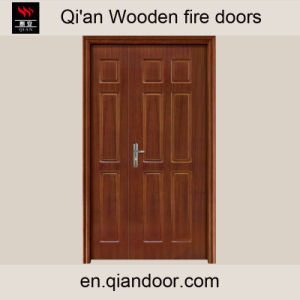 Unequal Double Door Wooden Fire Door Hard Wood Entry Door pictures & photos