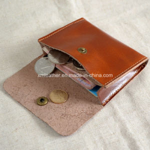 Genuine Calf Leather Slim Credit Card Coin Holder with Button pictures & photos