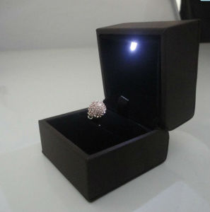 Leather Plastic Jewelry LED Light Ring Box Cheap Price pictures & photos