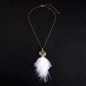 Retro Elegant Rhinestone Studded Swan′s Feather Pendant Women′s Sweater Necklace pictures & photos