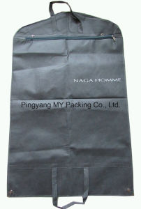 Nonwoven Zipper Suit Cover Garment Bag with Clear PVC Pockets pictures & photos