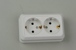 European Style Socket Double with Earthing 1128 pictures & photos