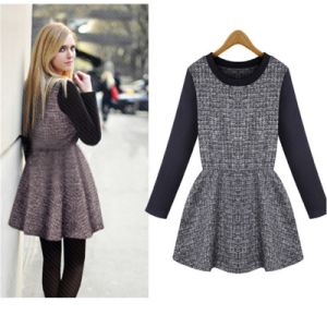 European and American Women Long Sleeved Plaid Dress/Hot Sale Autum and Winter Plaid Dress for Women D1556 pictures & photos
