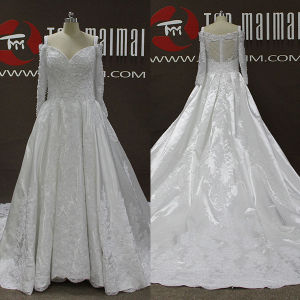 Ivory Satin Beaded Lace Long Sleeve A-Line Wedding Dresses (TM-AL198)