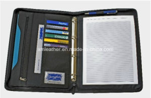 Zip A4 Compendium Leather 3 Ring Binder with Note Pad pictures & photos