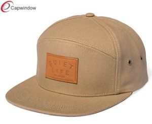 Cotton 5 Panel Camping Hat with Faux Leather (07043) pictures & photos
