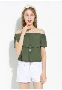 2015 New Arrvial Boat Neck Chiffon Blouse for Women pictures & photos