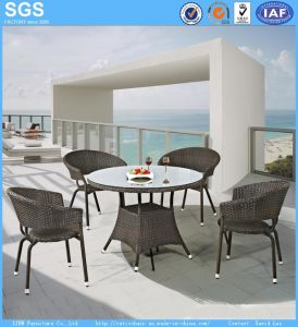 Outdoor Wicker Furniture Round PE Rattan Dining Set Table and Chairs pictures & photos