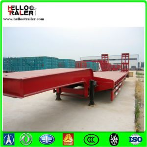 Heavy Machine Transportation 3 Axles Hydraulic Low Bed Trailer pictures & photos