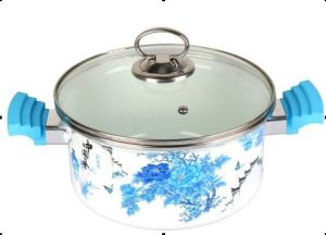Enamel Pot with Glass Lid, Stainless Steel Knob, Bakelite Handle pictures & photos