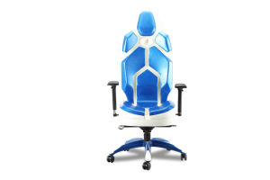 The White Metal Paint Blue Wax Leather Fashion Office Chair pictures & photos
