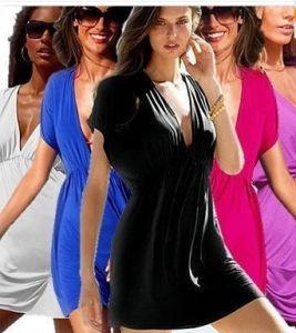 Hot Sexy Deep V Nylon Swimwear Bikini Cover up Shirt Beach Dressb1 15 Colors