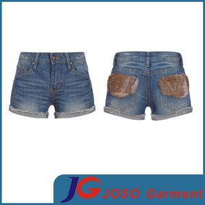 Women Faux Fur Pockets Denim Shorts (JC6091) pictures & photos