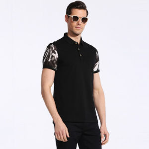 100% Cotton Material and Black Print Design Polo Shirts for Men pictures & photos
