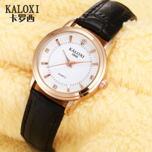 Fashion Ladies Watch with Rosegold Watch Case Colorful Leather Strap pictures & photos