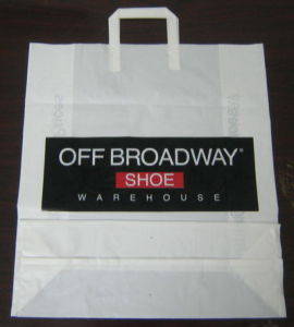 HDPE White Printed Plastic Tri Fold Handle Merchandise Bag pictures & photos