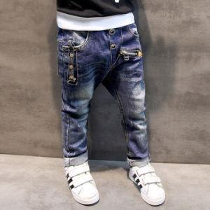 Popular Children′s Denim Trousers Kids Dark Blue Designed Jeans pictures & photos