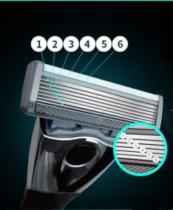 6 Layers Blades Razor Handle with One Preicision Trimmer 6+1 Blade
