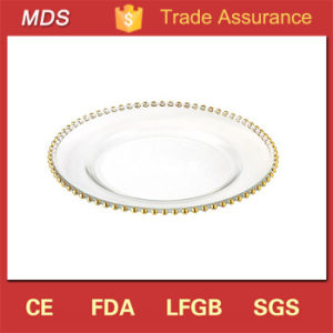 Wedding Golden Pearl Beads Edge Glass Charger Plate for Hotel pictures & photos