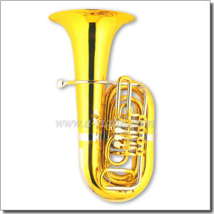 C Key Tuba 4 Valves Gold Lacquer Rotary Tuba (TU9912) pictures & photos