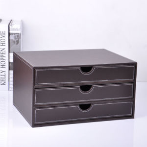 Luxury Brown Leather Office File Drawer Box pictures & photos