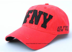 OEM Produce Customized Logo Embroidered Promotional Red Cotton Twill Adjustable Sports Baseball Cap pictures & photos