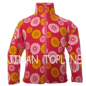 Full Zipper Printed Fleece Softshell Warm Stitching Color Jacket for Children pictures & photos