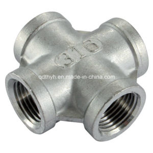 "Stainless Steel Pipe Fitting -Equal Cross 1/2"" NPT Female pictures & photos"