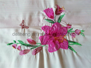 100% Microfiber Polyester 3PCS Bleached White Embroidered Bed Sheets pictures & photos