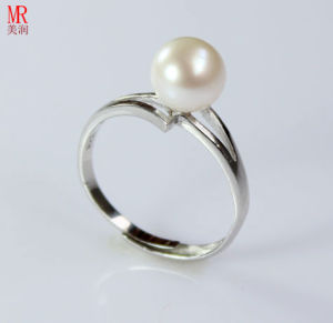 Sterling Silver Cultured Freshwater White Pearl Ring pictures & photos