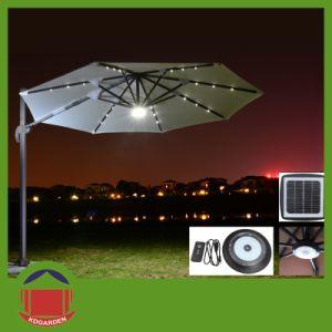 Outdoor Aluminium Side Post Patio Umbrella with LED Light pictures & photos