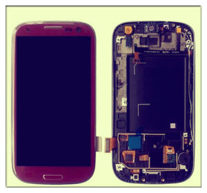 Red with Frame for Samsung Galaxy S3 LCD Display Digitizer Touch Screen Assembly for I9300