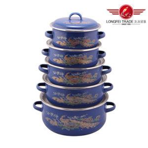 5PCS Enamel Pot Size 16-24cm Enamel Cookware Pot pictures & photos