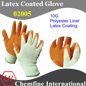 10g Yellow Polyester/Cotton Knitted Glove with Orange Latex Wrinkle Coating pictures & photos