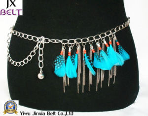 Fashion Lady Feather Skinny Nickel Chain Belts pictures & photos