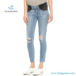 New Fashion Ladies Stretchy Skinny Ripped Maternity Denim Jeans pictures & photos