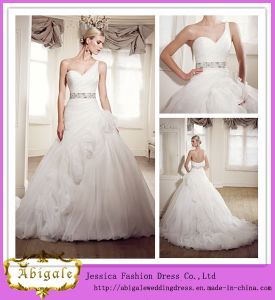 Latest Style Full Length a-Line One-Shoulder Beaded White Tulle German Wedding Dresses (LD1001)