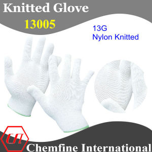 13G White Nylon Knitted Glove with Green Over Lock pictures & photos