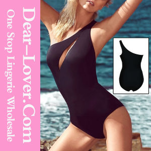 One Shoulder Cleavage Slit One-Piece Swimwear pictures & photos