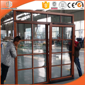 Hot Sales Thermal Break Aluminum Door with Interior Oak Wood Cladding Tilt and Sliding Door with Colonial Bar pictures & photos