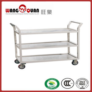 ISO Approved 3 Tier Stainless Steel Trolley for Sale, Kitchen Food Service Trolley pictures & photos