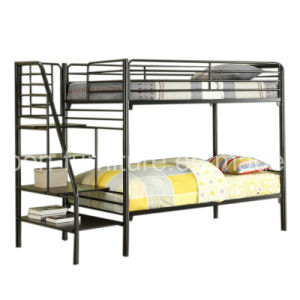 Triple Sleeper Bunk Bed Frame - Double on Bottom Single on Top/with Side Ladder and Bookshelf pictures & photos